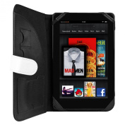 Unique Amazon Kindle Fire Tablet (Wifi Only, Wifi + 3G) Vangoddy White & Black Cover