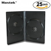 Maxtek 14mm Black Standard Double Capacity DVD Case and Outter Clear Sleeve, 25 pieces pack