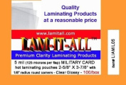 5 Mil Military Card Laminating Pouches Qty 100 Hot 2-5/8 X 3-7/8 Laminator Sleeves