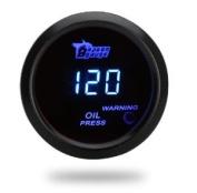 Docooler Digital Oil Pressure Metre Gauge with Sensor for Auto Car 52mm 2in LCD 0~120PSI Warning Light Black