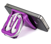 iPhone Stand, Small Tablet Stand, iPad Stand and Purple Earphone Case - Earphone not Included