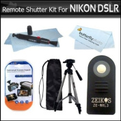Wireless IR Remote Control Shutter Release Kit For Nikon D40, D40X, D50, D70,D60, D70S, D80, N65, N75, Coolpix 8400, 8800, Pronea S, Nuvis S Lite Touch Zoom DSLR Cameras Includes Wireless Remote Control + 50 Full Tripod + Lens Pen Cleaning Kit + More