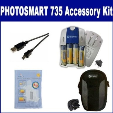 HP PhotoSmart 735 Digital Camera Accessory Kit includes: SDC-22 Case, ZELCKSG Care & Cleaning, USB5PIN USB Cable, SB257 Charger