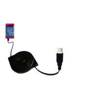 Charging Gomadic Retractable USB Data Cable for the Pyrus Electronics PMP-2080 and Provides both charge and data sync services