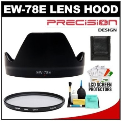 Precision Design EW-78E Hard Lens Hood & Hoya 72mm UV HMC filter + Accessory Kit for Canon EF-S 15-85mm f/3.5-5.6 IS USM Lens