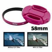 Vivitar 58mm UV filter and Snap On Lens Cap - Pink