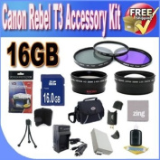 Canon T3 Accessory Saver Kit (58mm Wide Angle Lens + 58mm 2X Telephoto Lens + 58mm 3 Piece filter Kit + 16GB SDHC Memory + Extended Life Battery + Ac/Dc Charger + USB Card Reader + Deluxe Camera Case w/Strap + Microfiber Cleaning Cloth + LCD Screen Pr ..