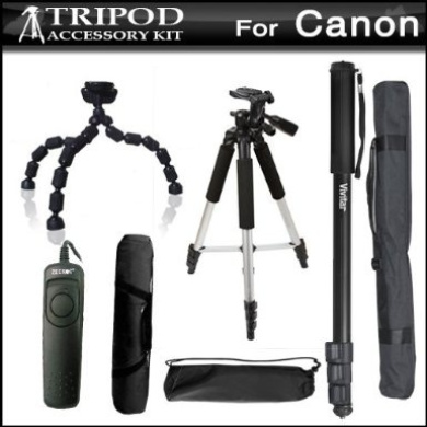 Tripod Kit For Canon EOS 60D, XT, XTi, T4i, T2i, T3i, T3, XS, XSi, G10, G11, G12 Digital SLR Camera Includes 57 Pro Tripod + 10 Flexible Gripster + 67 Monopod + RS60 Remote Switch