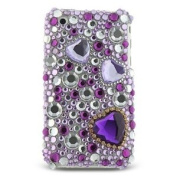 Purple Heart & Jewellery Full Diamond Back Piece Hard Cover Faceplate Protector Case for Apple Iphone 3g 3gs