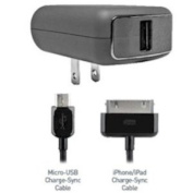 PureGear One-for-all Wall Chaeger, 1 Micro Usb Cable and 1 Charging Cable for iPad and iPhone - (Not for Iphone 5) Retail Packaging