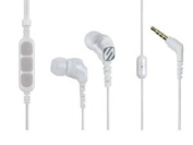 Scosche hp255m Noise Isolation Earbuds with tapLINE II Remote & Mic - Wired Headsets - Retail Packaging - White