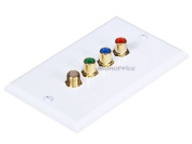 Monoprice 3 RCA Component + F-Type Two-Piece Inset Coupler Wall Plate