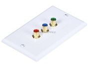 Monoprice 103000 3 RCA Component Two-Piece inset Wall Plate (RGB)-Coupler Type