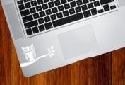 Owl on Branch - Trackpad / Keyboard - Vinyl Decal