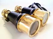 Brass Leather Binoculars 15cm - Antique Style Binoculars - Nautical Decor Home Decoration - Executive Promotional Gift