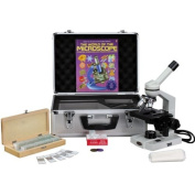 AmScope 40X-1000X Advanced Compound Microscope with 3D-Stage + Book, Slides & Carrying Case