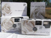 10 Pack Soft White Rose Wedding Disposable 35mm Cameras In Matching Gift Boxes- 27 Exposures Each- With Matching Table Tents