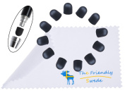 1 Dozen Soft Replacement Tips for The Friendly Swede® Thin-Tip High Precision Stylus Pen + Cleaning Cloth in Retail Packaging