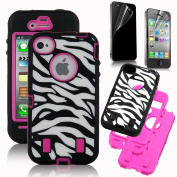 Focal3c Rose Pink White Zebra Combo Hard Soft High Impact Iphone 4 4s Armour Case Skin Gel with Free Screen Protector