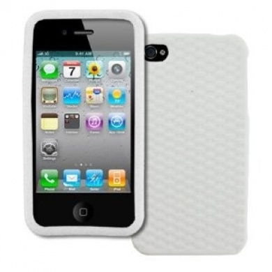 EMPIRE Apple iPhone 4 / 4S Silicone Skin Case Cover (White Weave Texture)