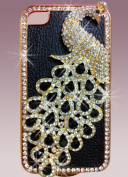 1x Luxury Designer Bling Crystal Case Handmade Blue Peacock for Apple Iphone 4 and 4s [Limited Edition]