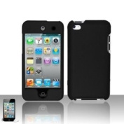 Black Rubberized Hard Snap-on Skin Case Cover Accessory for Ipod Touch 4th Generation 4g 4 8gb 32gb 64gb by Electromaster