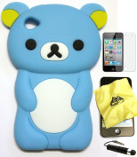 Bukit Cell Blue bear 3D Cartoon soft silicone skin case cover for IPod Touch 4/4G/4th generation
