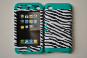 Hybrid 5.1cm 1 Teal Silicon Leather Finish Zebra Case For Apple IPod Touch 4g - Black and White
