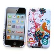 """Apple iPod Touch 4th Generation Crystal Silicone Skin Case """"Colourful Flowers"""" Design, by Cellular Connexion"""