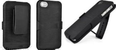 BLACK RUBBERIZED CASE + BELT CLIP HOLSTER FOR iPHONE 4 By SportyGigabite