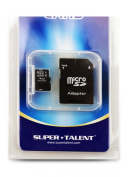 Super Talent 4 GB MicroSDHC Flash Memory with SD Adapter MSD4GBST/R