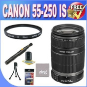CANON 55-250 LENS EF-S IS 4-5.6 + UV filter + Lens Pen Cleaner + Microfiber Cleaning Cloth + Accessory Saver Bundle!.