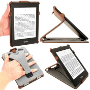 iGadgitz Brown PU 'Heat Moulded' Leather Case Cover for Amazon Kindle PaperWhite 3G 15cm Display Wi-Fi 2GB. With Sleep/Wake Function & Integrated Hand Strap