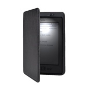 Black Lighted Smart Leather Cover Case Built-in-LED Light For Amazon Kindle 4