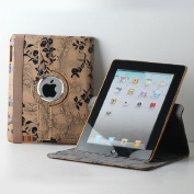 TCD - Tan Fancy Rotating Black Flower PU Leather Case Cover For New iPad 2 3 4