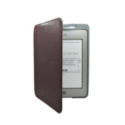 Black Genuine Leather Cover Sleeve Case Lighted Built-in-LED Light For Amazon Kindle Touch