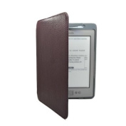 Black Genuine Leather Cover Sleeve Case Lighted Built-in-LED Light For Amazon Kindle 4