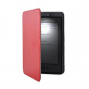 Red Lighted Smart Leather Cover Case Built-in-LED Light For Amazon Kindle 4