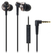 Audio Technica SonicPro Port ATH-CKM500I In-ear Headphones with Mic & Volume Control for iPod, iPhone, and iPad - Black