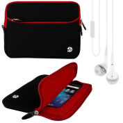 (Red Trim) VG Neoprene Sleeve Cover for for for for for for for for for for for Samsung Galaxy Tab 3 Android 18cm Tablet + White VG Brand Stereo Headphones with Windscreen Microphone & Silicone In Ear Tips