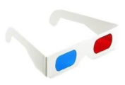 3D Red/Cyan White Cardboard Glasses - Anaglyph Images - 1 Pair