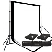 Two Prism 3m x 6.1m, 100% Cotton Muslin Backdrops and The Ravelli Full Size 3m x 6.1m Background Stand Set