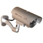 USAHITEC Outdoor Dummy Fake Security Camera with Inflared Leds BLINKING LIGHT, Silver