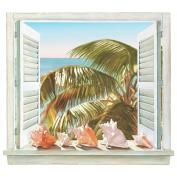 Mural Portfolio II Trompe L'Oiel Palm Tree and Shell Window Accent Wall Sticker