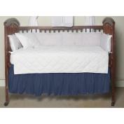 Blue Dark-Chambray Fabric Crib Dust Ruffle