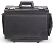 Ultimate Leather Wheeled Catalogue Case in Black