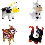 BrainStorm Looking Glass Miniature Glass Figurines, 4-Pack, Cow/Dairy Cow/Deer/Bull