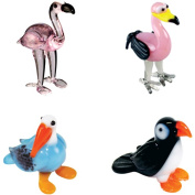BrainStorm Looking Glass Miniature Glass Figurines, 4-Pack, Pinky Flamingo/Ming Flamingo/Percy Penguin/Muffin Puffin