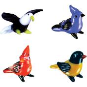 BrainStorm Looking Glass Miniature Glass Figurines, 4-Pack, Eagle/Blue Jay/Cardinal/Oriole