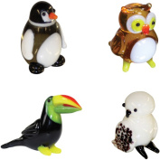 BrainStorm Looking Glass Miniature Glass Figurines, 4-Pack, Penguin/Owl/Toucan/Snow Owl